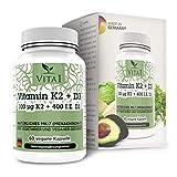 Vitamina K2 100µg di VITA1 • 60 capsule (fornitura per 2 mesi) • alto dosaggio con Vitamina D3 • Fatto in Germania