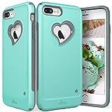 VENA Funda para iPhone 8 Plus / 7 Plus, [vLove][Corazón-Forma | Doble Capa Proteccion] Híbrido Parachoque Case Cover para Apple iPhone 7 Plus y 8 Plus (5,5') - Teal/Gris