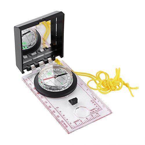 マッピングコンパス 方位磁石 ルーペ 定規 鏡 軽量 携帯便利 アウトドア/キャンプ/ハイキング/登山など対応 コンパス