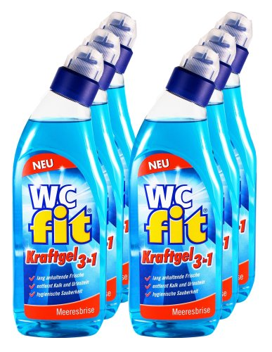 Unbekannt 6er Vorteilspack Fit WC-Reiniger WC-Kraftgel 3in1 Meeresbrise 4500 ml