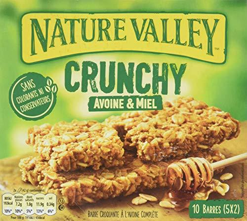 Nature Valley - Barres de Céréales Crunchy Avoine & Miel - 10 Barres (5x2 Barres)