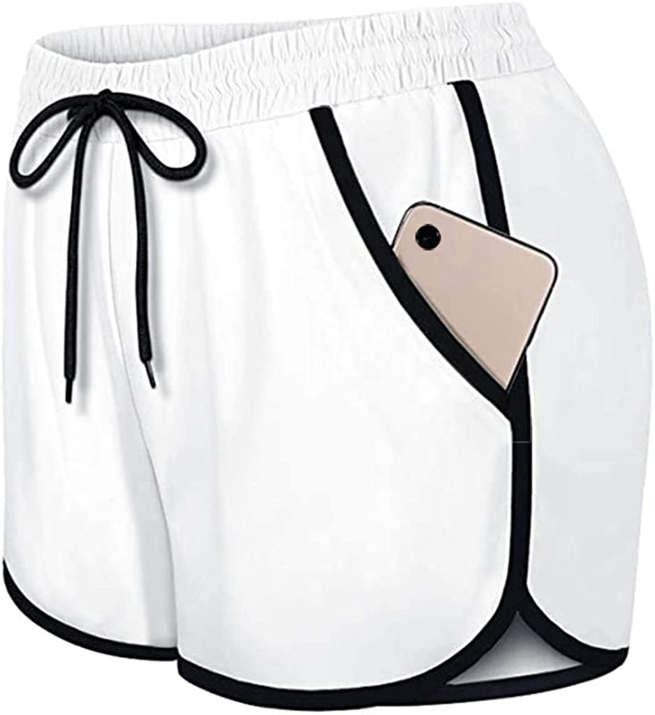 Womens Workout Short,Womens Double Layer Drawstring Elastic Waist Casual Athletic Shorts with Pockets