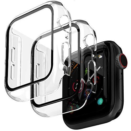 Jvchengxi 2PCS Cover Compatibile per Apple Watch 40mm Series 6/5/4/SE Pellicola Protettiva, HD Custodia Rigida con Vetro Temperato Antiurto PC Caso Schermo Sottile per iWatch Series 6/5/4/SE - Chiaro