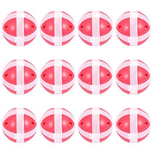 CLISPEED 12 Stücke Klettball Set Kinder Klettballspiel Fangballspiel Ballspiel Set Ersatzbälle Paddle Ball Spiel Klett Wurfspiel für Strand Outdoor Sport Spielzeug