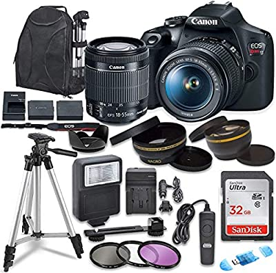 Canon EOS Rebel T7 Digital SLR Camera with Canon EF-S 18-55mm Image Stabilization II Lens, Sandisk 32GB SDHC Memory Cards with Commander Optics Accessory Bundle by COMMANDER OPTICS