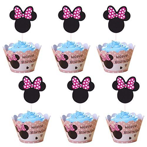 Amycute 24 Stücke Mouse Kuchendekoration Cupcake Toppers und Wrappers Verpackung, Handmade für Kinder Party Kuchen Dekoration Geburtstag Deko Party Gegenstände.