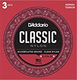 D'Addario EJ27N Student Nylon Classical Guitar Strings, Normal Tension, 3 Sets