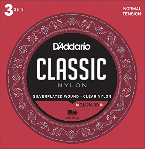 D'Addario EJ27N-3D Schüler-Saiten für Klassikgitarre, Nylon, normale Spannung