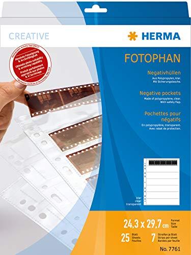 HERMA 7761 Fotophan Negativhüllen DIN A4 transparent (7 x 5 Streifen, 25 Hüllen, Folie) für Kleinbild-Negative im Format 35 mm mit Sicherheitslasche & Eurolochung