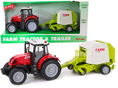 Toyland 37cm Red Tractor & Trailer With Lights & Sound - Kids Farm Toys (Tractor & Baler)