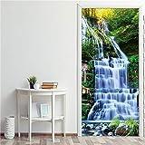 DFKJ Murales de Puertas 3D extraíbles Pegatina de Puerta Papel Pintado Impermeable Sala de Estar Dormitorio Autoadhesivo Mural de Pared calcomanía A9 95x215cm