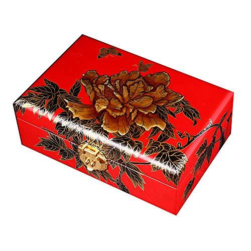 Laogg Chinesische Schmuckschatulle,Schmuck-Box, Holz, chinesische Aufbewahrungsbox, Dressing Box, Schmuckkästchen, Lack Schmetterling Pfingstrose,Chinesische Hochzeit Aufbewahrungsbox