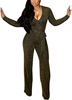 5884dbafbfc8 Ophestin Womens Sparkly Long Sleeve V Neck Jumpsuit Romper with Belt  Bodycon Clubwear