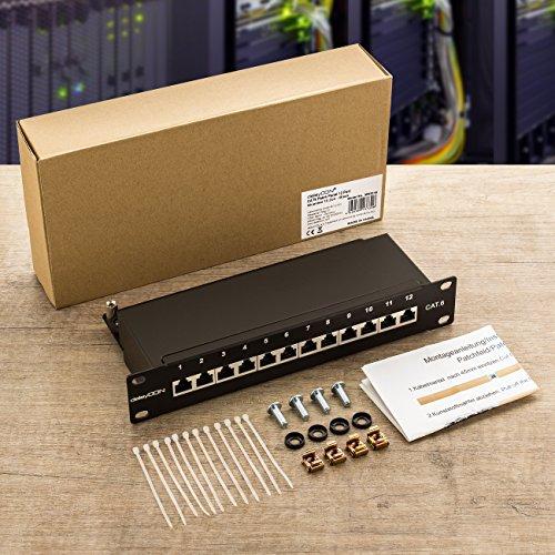 deleyCON CAT 6 Patchpanel Verteilerfeld 12 Port - Desktop 10 Zoll Rackeinbau Servermontage - RJ45 - Geschirmt - TIA568A TIA568B Schwarz