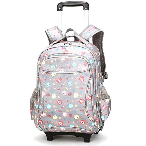 FREETT Girl Trolley Backpack, Student Bag with Wheels for School Student and Boy, Multifunctional Trolley Suitcase with Laptop Compartment, 39 * 26 * 53 cm,Gray