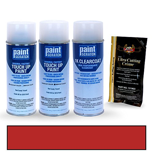 PAINTSCRATCH Touch Up Paint Tricoat Spray Can Car Scratch Repair Kit - Compatible with 2010 Ford F-Series Red Candy Tricoat (Color Code: U6)