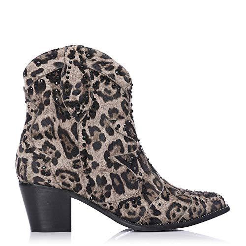 Moda In Pelle Chera - Tela de Leopardo, Color Beige, Talla 40.5 EU (Ropa)