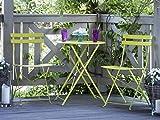 Modernes Balkonset Tisch mit 2 Stühlen aus Stahl Limette Fiori