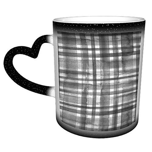 Rayas, negro, blanco, grunge, tartán, tartán, taza de café, taza de té de cerámica, regalo perfecto para familiares y amigos, 11 oz