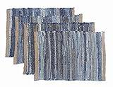 Chardin home Eco Friendly Denim/Jute Placemats (Set of 4), Size: 14''x19'' (14''x19'')