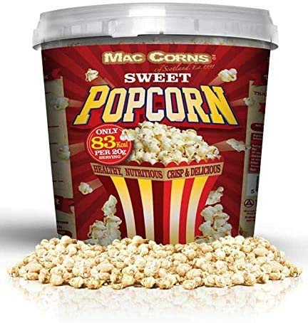 Popcorn dolce ~ 600 g ~ secchio da 10 litri di dimensioni super ~ Pronto per essere montato tradizionalmente