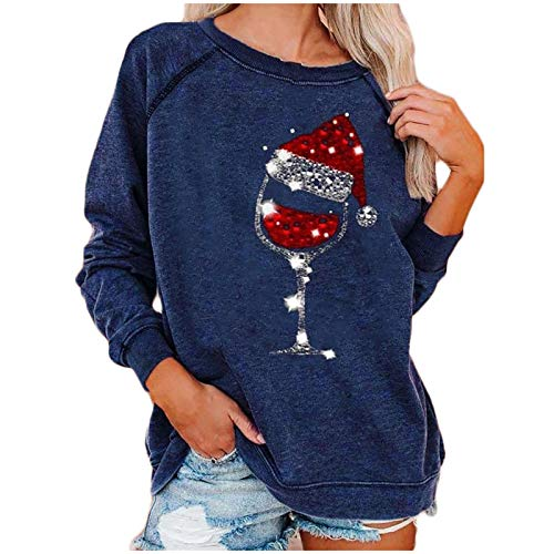 SicongHT Weihnachten Kreatives Weinglas Langarm Sweatshirt Pullover Shirts Top Bluse Frauen Weihnachtspulli Weihnachtspullover Oberteile Weihnachtsmann Sweatshirt Xmas Pulli Shirt(Blue,S)