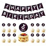 MZZYP. Juego de decoraciones para fiestas de cumpleaños de TikTok, estandarte de Tik Tok y decoración para tarta Tik Tok, 14 unidades
