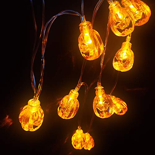 QPEY Battery Operated LED Fairy String Lights 3D Pumpkin 10 LEDs Halloween Decoration Light