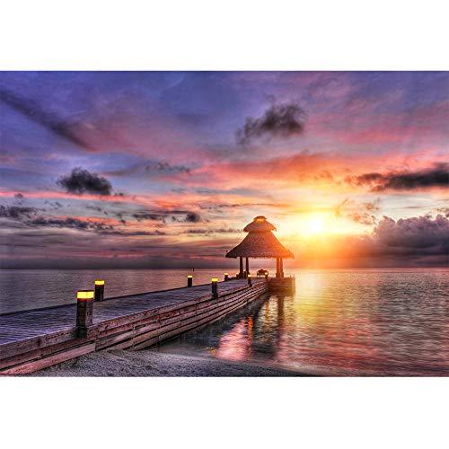 Kit de pintura de diamante 5D Pabellón puente de madera sobre el mar. Puntada Rhinestone Bordado Artes Artesanía Kits para Decoración de la pared del Hogar30x40cm