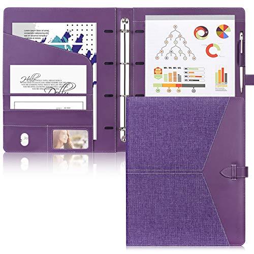 Toplive Konferenzmappe A4 Schreibmappe Leder A4 Portfolio aus PU-Leder inkl 4 Ringbuchmappe Dokumenten-Mappe optimaler Einsatz in Büro, Schule und Studium,Lila