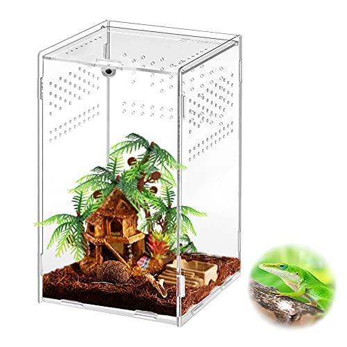 Victop Insekten Fütterungsbox Acryl Reptilienzuchtbox Transparenter Reptilien-Lebensraum Anti-Flucht-Design, für Spinnengrillen Eidechse Gottesanbeterin Schnecken Geckos Horned Frog (12x12x20cm)