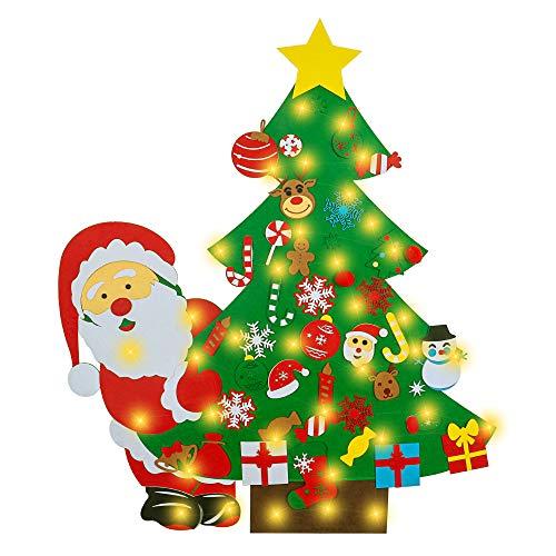 G-TASTE Árbol de Navidad de Fieltro DIY con 40 Piezas de Adornos de 50 Luces LED, versión actualizada, niños