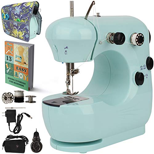 Kids Sewing Machine With 50 Pages Fast Learning Sewing Tutorial –Top Quality Beginners Mini Portable Handheld Electric Sewing Machine Lightweight Double Thread 2-Speed Travel Sewing – Best Kids Gift