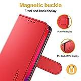 XINYUNEW Hülle für Vivo Nex 3/Nex 3 5G/Nex 3S 5G,Klappbare Handyhülle,RFID Schutzhülle [Schützt vor Stößen][Magnetverschluss][Kartenfach][Verdicktes TPU][Premium Leder] Lederhülle Hülle Cover Rot