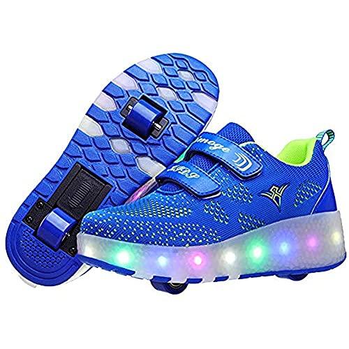 TTIK Led Luces Zapatos con Doble Ruedas Automática Calzado De Skateboarding Zapatillas Mutilsport Luminosas Exteriores Y Zapatillas Deportivas para Gimnasia