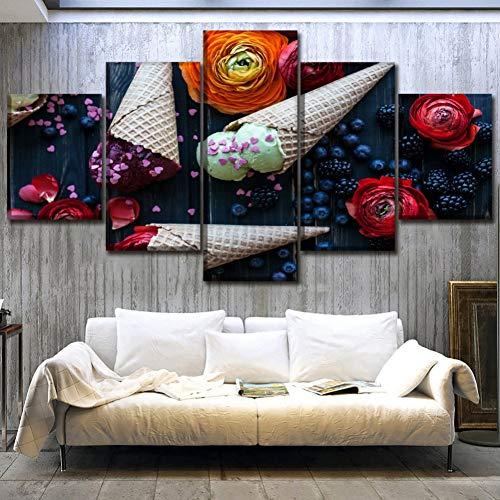 GHTAWXJ canvasdruk afbeelding muurkunst keuken levensmiddelen schilderij 5 stuks BlackBerry Blueberry bloem fruit ijs wafel poster