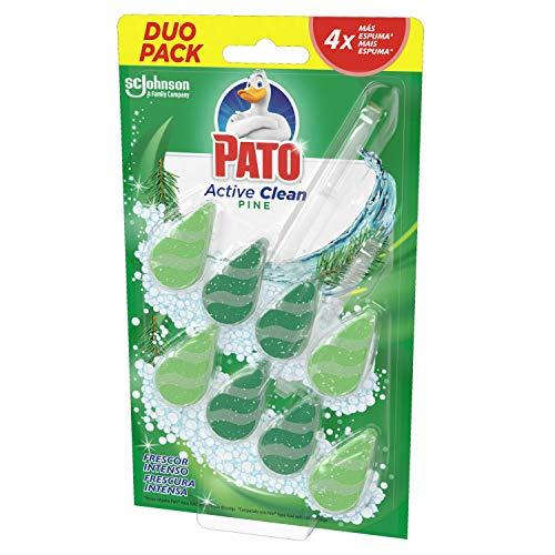 Pato - Active Clean colgador para inodoro, frescor intenso, perfuma y desinfecta, aroma Pino, 2 unidades