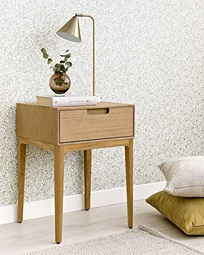 Kenay Home-Mesita De Noche Dormitorio Roble 1 Cajón Mesilla Cama Habitación Vinti 42x40x58cm (WxDxH)