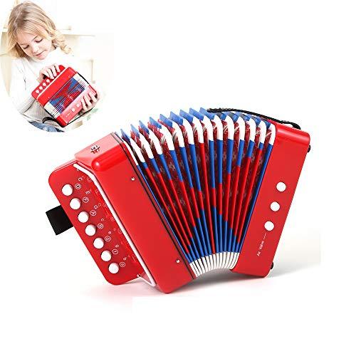 YUSDP Mini 7-Tasten Kinder Akkordeon, mit 3 Luftventilen - Seitenhilfsgurt Design, Musikinteresse entwickeln - kleines pädagogisches Geschenk, Kinder Instrument Band Spielzeug