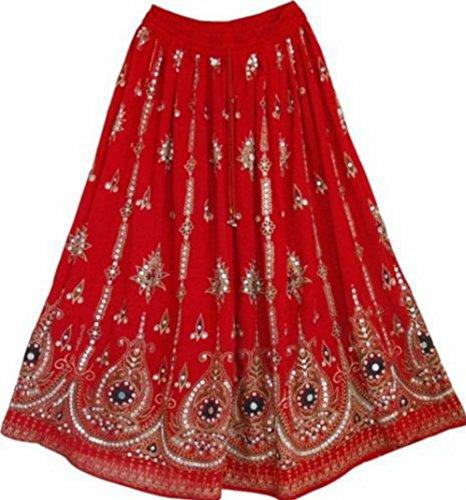 RED Damen Indian Boho Hippie Zigeuner Sequin Sommer Sommerkleid Maxi Rock ROT