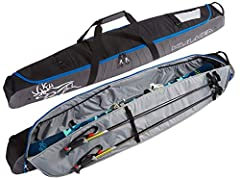 Adjustable internal buckle straps for securing skis to keep skis from shifting. Easy use internal strap system for securing poles separately from skis. Low profile compression straps for size adjustment and additional load control. Padded handles wit...