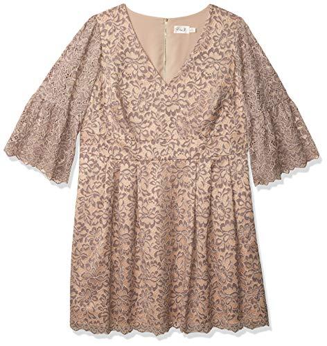 Eliza J Women's Plus Size Lace Flare Sleeve Dress, Gray, 20W