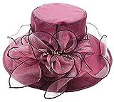 Bellady Womens Organza Ruffles Wide Brim Church Derby Hat Kentucky Tea Party Wedding Hat,Burgundy