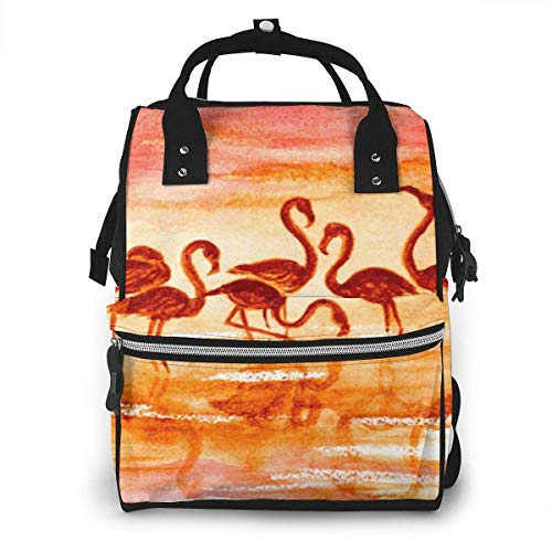 UUwant Sac à Dos à Couches pour Maman Large Capacity Diaper Backpack Travel Manager Baby Care Replacement Bag Nappy Bags Mummy BackpackFlamingo in Sunset Vector Image