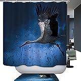 HarsonundJane Polyester Mandschurenkranich Druck Duschvorhang wasserdicht Mehltau Beweis 3D Digitaldruck geh?ren Kunststoff Haken 180x180cm