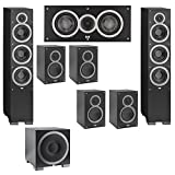Elac 7.1 System with 2 Debut F6 Floorstanding Speakers, 1 Debut C5 Center Speaker, 4 Debut B5 Bookshelf Speakers, 1 Debut S10EQ Subwoofer
