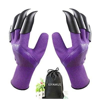XJYAMUS Gardening Gloves, Waterproof Garden Gloves with Claw For Digging Planting, Best Gardening Gifts for Women and Men. (Purple)