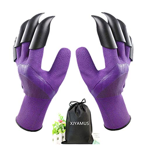 Gardening Gloves, Waterproof Garden Gloves with Claw For Digging Planting, Best Gardening Gifts for Women and Men. (Purple)