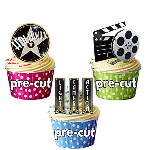 Decoraciones precortadas de Hollywood Lights Camera Action - 12 decoraciones comestibles para cupcakes