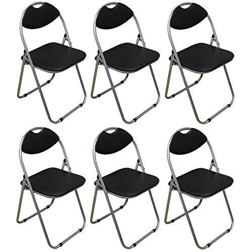 Klappstuhl - gepolstert - Schwarz - 6 Stück